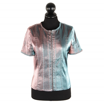 Chanel Iridescent Lame Silver Vintage Short Sleeve Jacket
