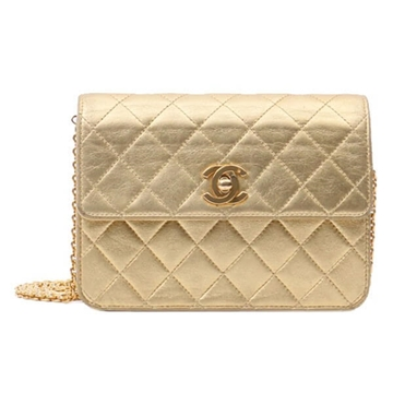 Chanel Matelasse Quilted Chain Strap Gold Tone Vintage Mini Handbag