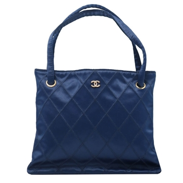 Chanel Quilted Blue Vintage Mini Tote Handbag
