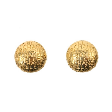 Chanel Logo Embossed Round Gold Tone Vintage Earrings