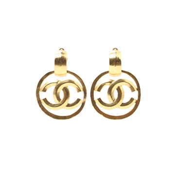 Chanel 1990s Round Cut-Out Monogram Gold Tone Vintage Earrings
