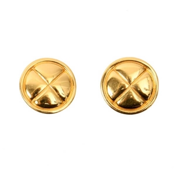 Chanel Round Quilted Gold Tone Vintage Earrings