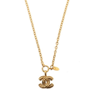 Chanel Matelasse Monogram Gold Tone Vintage Necklace