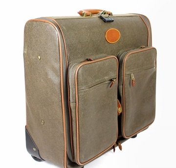 Mulberry Leather Wheeled Olive Brown Vintage Suitcase