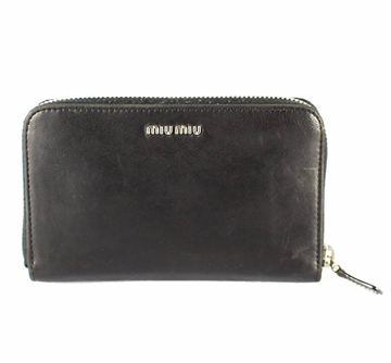 Miu Miu Metal Logo Embossed Black Vintage Leather Wallet