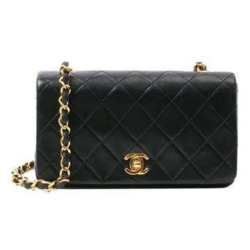 Chanel Quilted Full Flap Chain Strap Black Vintage Mini Handbag