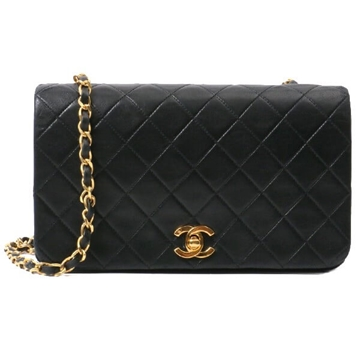 Chanel Quilted Chain Strap Full Flap Black Vintage Handbag