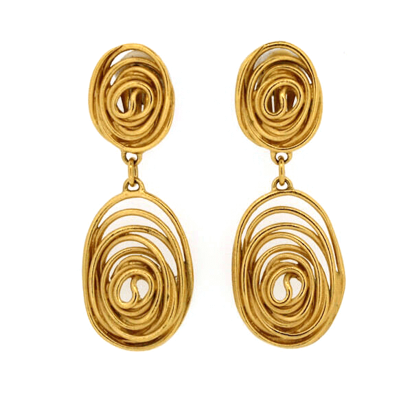 Picture of Balenciaga 1980s Gold Tone Metal Vintage Statement Earrings