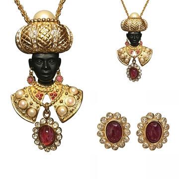 Picture of Dior Blackamoor Red Vintage Necklace & Earrings Set