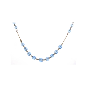 Vintage 1930s Art Deco Rolled Gold Blue Glass Necklace