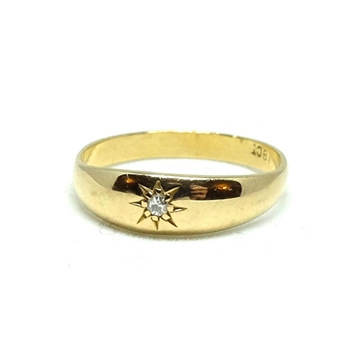 Antique Victorian Diamond Gypsy 18 carat Yellow Gold Ring