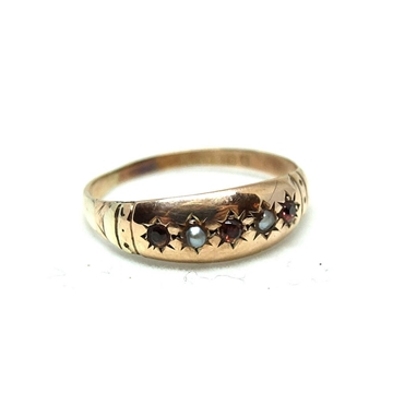antique-edwardian-ruby-seed-pearl-9ct-rose-gold-gypsy-ring