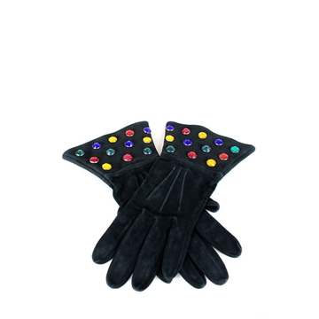 YVES SAINT LAURENT 1980s rhinestone & black suede vintage Gloves