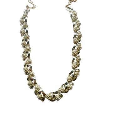 Vintage 1950's Coro Necklace Gold Tone signed Coro Leaf Necklace
