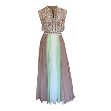 Roter Couture 1970s Chiffon white & green vintage Evening dress