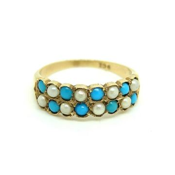Antique Victorian Turquoise and Pearl 9ct Gold Ring