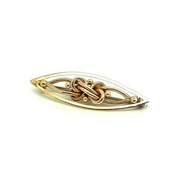 Antique Victorian Knotted Marquise  9ct Rose Gold Brooch