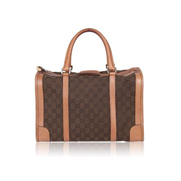 Gucci  Monogram Canvas Boston Brown Vintage Bag