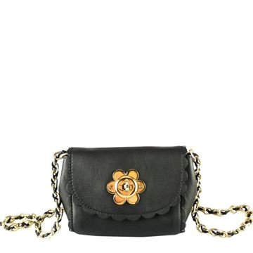 Mulberry Leather Flower Black Vintage Mini Bag