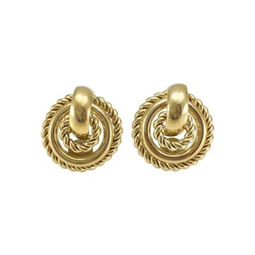 Christian Dior 1980s Twisted Hoop Gold Tone Vintage Earrings