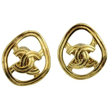 Chanel 1990s Monogram Gold Plated Vintage Clip Earrings