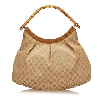 Gucci Monogram Bamboo Handle Beige Vintage Handbag