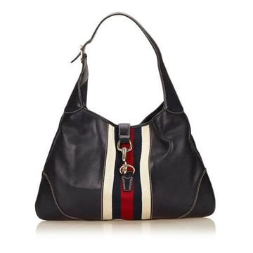 Gucci Leather Jackie Horsebit Black Vintage Handbag