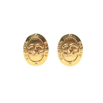 Chanel Vintage Textured Monogram Oval Gold Tone Metal Clip Earrings