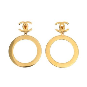 Chanel Vintage Monogram Gold Tone Metal Hoop Clip Earrings