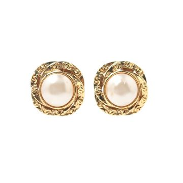 Chanel 1990s Pearl Monogram Gold Tone Metal Vintage Clip Earrings