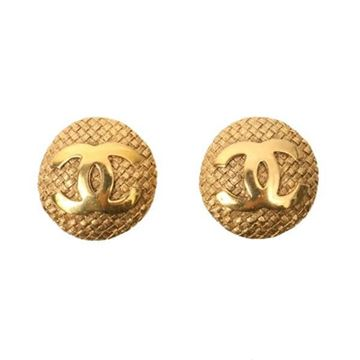 Chanel Vintage Tweed Look Monogram Gold Tone Metal Clip Earrings