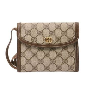 Gucci Vintage Monogram Pattern Logo Plate Brown Mini Shoulder Bag