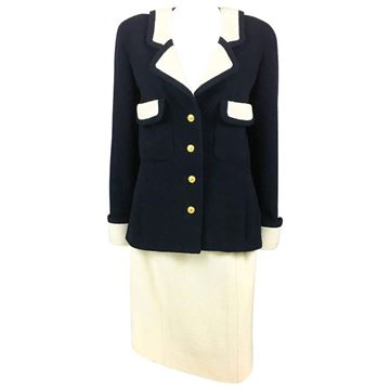 Chanel 1980s Nautical Inspired Navy and White Wool Vintage Skirt Suit