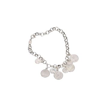 Vintage Coin Charm Sterling Silver Chain Bracelet