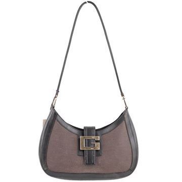 Gucci G Detail Grey Vintage Canvas Shoulder Bag