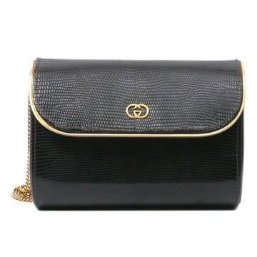 Gucci Lizard Leather Gold Edge Black Vintage 2 Way Bag
