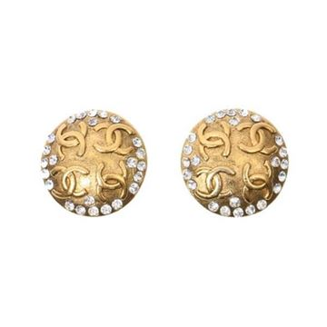 Chanel CC Mark Round Rhinestone Gold Tone Vintage Earrings