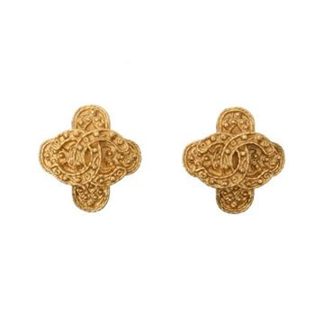 Chanel 1990s CC Layered Quatrefoil Gold Tone Vintage Earrings