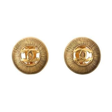Chanel Circular CC Mark Cutout Gold Tone Vintage Earrings