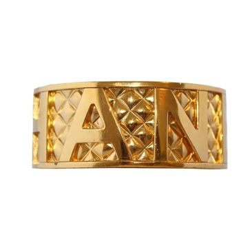 Chanel 1990s Quilted Logo Gold Tone Vintage Cuff Bracelet