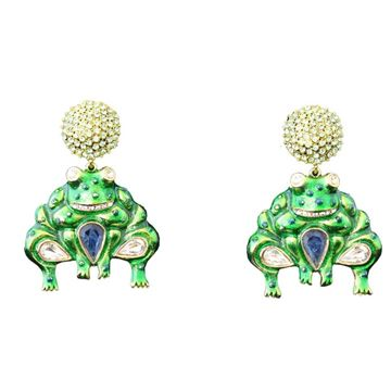 Carlo Zini Enamelled Frog Green Pendant Earrings