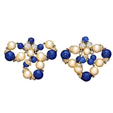 Carlo Zini Faux Pearl & Resin Bead Blue Vintage Earrings
