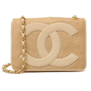 Chanel CC Logo Straw Beige Vintage Shoulder Bag
