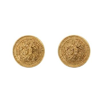 Chanel 1990s CC Sheild Gold Tone Vintage Earrings