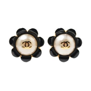 Chanel Faux Pearl and Enamel Flower Shape Black Vintage Earrings