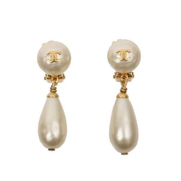 Chanel 1990s Faux Pearl Drop Gold Tone Vintage Earrings
