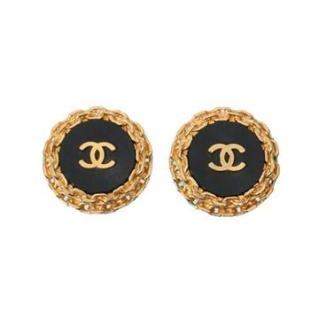 Chanel 1990s CC Mark Gold Tone Chain Black Vintage Earrings