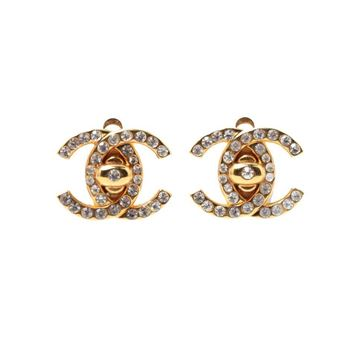 Chanel 1990s CC Turnlock Rhinestone Gold Tone Vintage Earrings