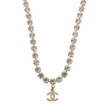 Chanel 1990s Rhinestone Chain CC Charm Gold Tone Vintage Necklace