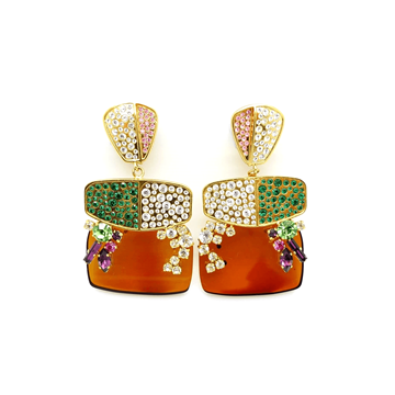 Christian Lacroix Statement Resin & Crystal Drop green vintage Earrings